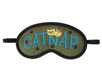 Cat Sleep Mask, Catnap blindfold, Cat lover gift, Army green sleeping eye mask, Animal sleepmask paw embroidery, Teal green beige tiger