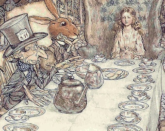 A Mad Tea Party,  Arthur Rackham, Vinatge Art Print