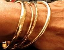 Stacking Bangle Bracelets- Gold Filled Stackable Bracelets - Flower Texture Bangle - Knotted Bracelet - Handmade Bangles - Venexia Jewelry