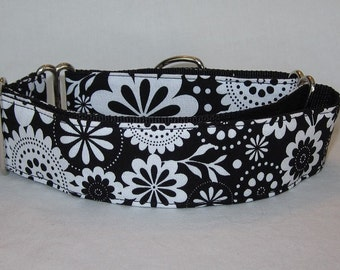 SALE Flower Power Martingale Dog Collar - 1.5 or 2  Inch - black white floral spring