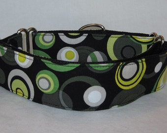 SALE Dizzy Martingale Dog Collar - 1.5 Inch - black white lime green circles fun colorful bold spring handsome boy