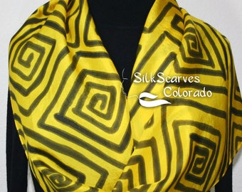 Silk Scarf Hand Painted Silk Scarf Yellow Black Silk Scarf Handmade Silk Scarf SUNRISE MAZE Size 11x60 Birthday Gift Scarf Gift-Wrapped