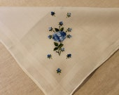 White with Blue detail Handkerchief