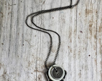 Industrial Vintage Key Necklace With Vintage Buttons Black, Silver and White