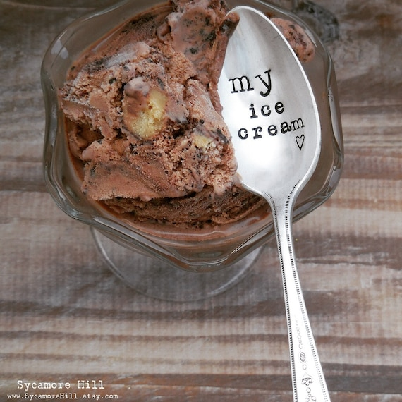 My Ice Cream Spoon. CUSTOM TEASPOON. The ORIGINAL Hand Stamped Vintage Spoons by Sycamore Hill™ Hand Stamped Spoon. His Her Mine Yours