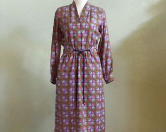 "Vintage 80's HR Silksensible T.M. Paris Milan New York Geometric Print Long Sleeved Dress with Fabric Belt Bust 38"" Waist 32-35"""