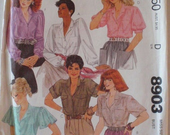 Women's Sewing Pattern - Button Front Blouses - McCall's 8903 - Size 12, Bust 34, Uncut