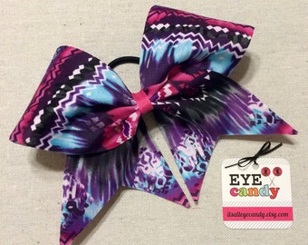 Aztec 3 Inch Cheer Bow Pink Purple Blue Softball Dance Gymnastics