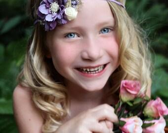Small lavender flower headband, lavender baby headband,feather headband,flower girl headband,lilac newborn headband,photo prop