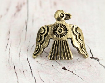 Bronze Alloy Thunderbird concho cocktail adustable ring size 7-8 Native inspired Bohemian Gypsy Southwestern cowgirl statement ring