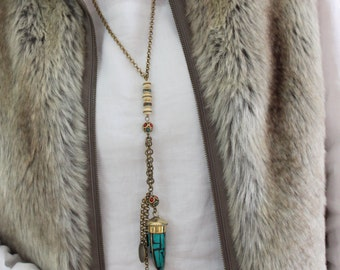 LIVE-LOUGH-LOVE- Rosary style bronze chain&Turquoise Brass Tusk Horn pendant Bohemian statement Gypsy Long necklace Designed by Inali