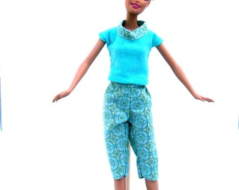 Handmade Barbie Doll Pedal Pushers and Shirt Set