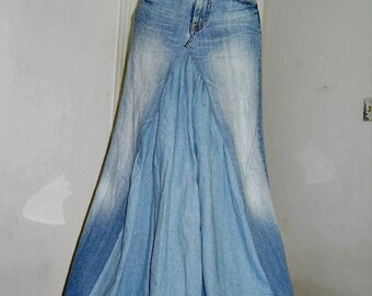 Seven for All Mankind  ballroom jean skirt Renaissance Denim Couture fairy goddess mermaid belle bohémienne Made to Order