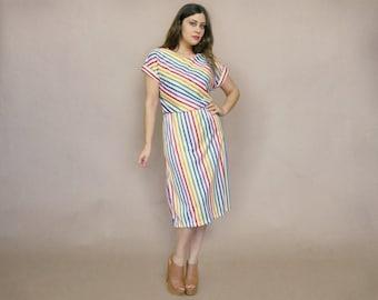 Rainbow Striped Dress 70s Midi Sundress White Candy Stripes 1970s Secretary Dress Short Sleeve Hippie / Size L XL Extra Large