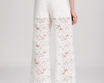 High waist wide pants made of High quality white lace ,High Fashion CUSTOM ORDER, sizes from 2 to 18 or your measurements