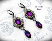 Amethyst Earrings, Victorian Earrings, Purple Jewel Drop Earrings, Gothic Earrings, Victorian Jewelry, Gothic Jewelry