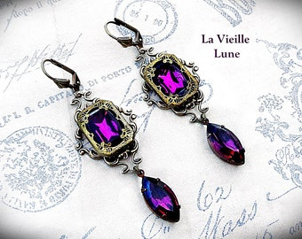 Amethyst Earrings, Victorian Earrings, Purple Jewel Gothic Earrings, Victorian Jewelry, Gothic Jewelry