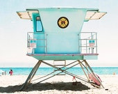 "California Beach Art, Photography,  Vertical Beach Photograph, Aqua Blue Turquoise Beach Decor, Santa Cruz California, ""Santa Cruz Summer"""