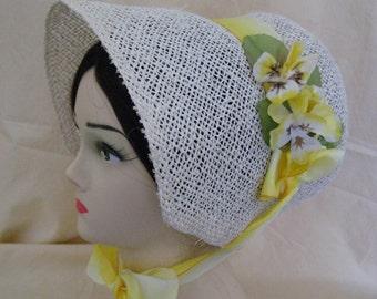 Regency/Victorian Straw Bonnet. Jane Austen. Handmade. Yellow Vintage trims.