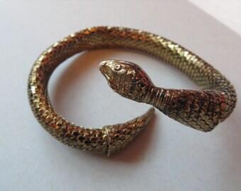 Vintage Whiting & Davis Snake / Serpent Coil Metal Chain Mesh Bracelet / Cuff Goldtone