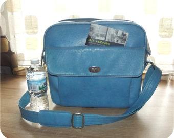 Vintage 60s Blue Travel Overnight Bag LOCKING Samsonite Silhouette With Lock Retro MOD Carry On Stewardess Luggage Diaper Bag