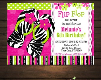 Flip Flops Pool Party Birthday Party Invitation, Printable File
