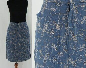 Vintage Seventies Jean Skirt- 1970s Embroidered Denim Skirt - 70s Jean Skirt