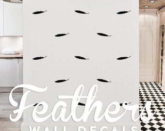 Feathers Wall Decal Pack, Vinyl Wall Sticker Decal Art Pattern WAL-2161