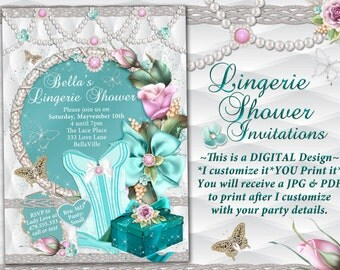 Lingerie Shower Invitation,Personal Shower Invitations, Corset Invitations, Burlesque Invitations