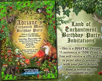 Fairytale Forest Party, Enchanted Wood Invitation, Frog Castle Invitation