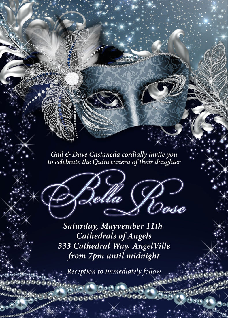 Masquerade party invitation mardi gras party party for Maquerade invitations