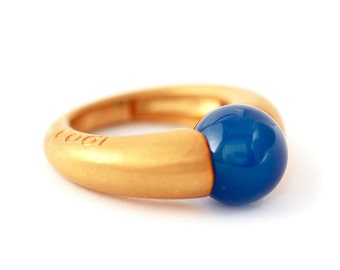 Unique Agate ring- Spring Weddings, Mom gift, Contemporary jewelry- Blue Agate and gold plated silver- Minimalist ring- Blue stone gold ring