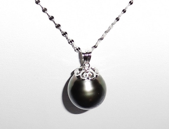 "GIGANTIC 19mm Dark Gray Tahitian Pearl, SOLID 14kt White Gold 18"" Fancy Leaf Chain Necklace"