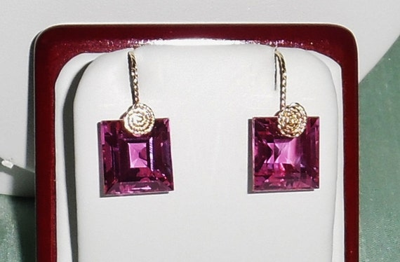 33 cts Natural Square Pink Topaz gemstones, 14kt yellow gold Pierced Earrings