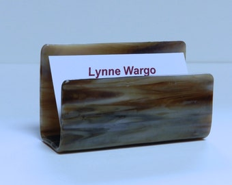 Business Card Holder, Grey and Tan Streaky Glass