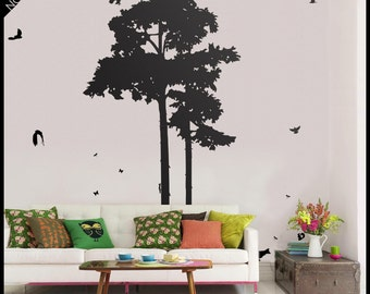 Mountain Pine Tree Walldecal -  Two pines sticker vinyl decor, with owls flying or seated and other birds, squirrels, fox, hare, rabbit