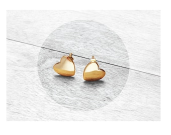 Get 15% OFF - 18K Gold Plated Sterling Silver 925 Petite Heart Stud Earrings - St. Patrick's Day SALE 2018