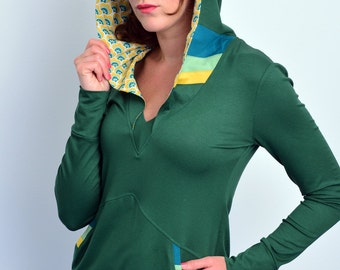 jersey hoodie - green - stripes