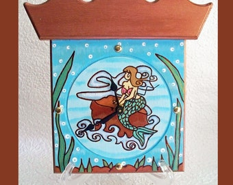 Mermaid Wall or Table Clock with Bonus Stand