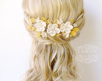 French Beaded Flower Wedding Hair Vine, Ivory and Gold floral bridal hair piece, woodland wedding hair accessory, brides hair pin