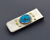 Turquoise, Sterling Silver & Natural Gold Nugget Money Clip