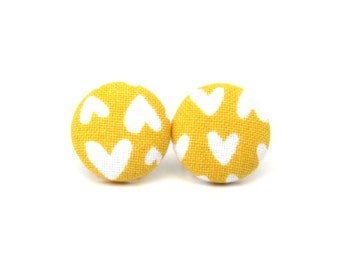 Valentine's day gift - Mustard yellow stud earrings - fabric button earrings - tiny hearts bright funky - birthday gift - present for her