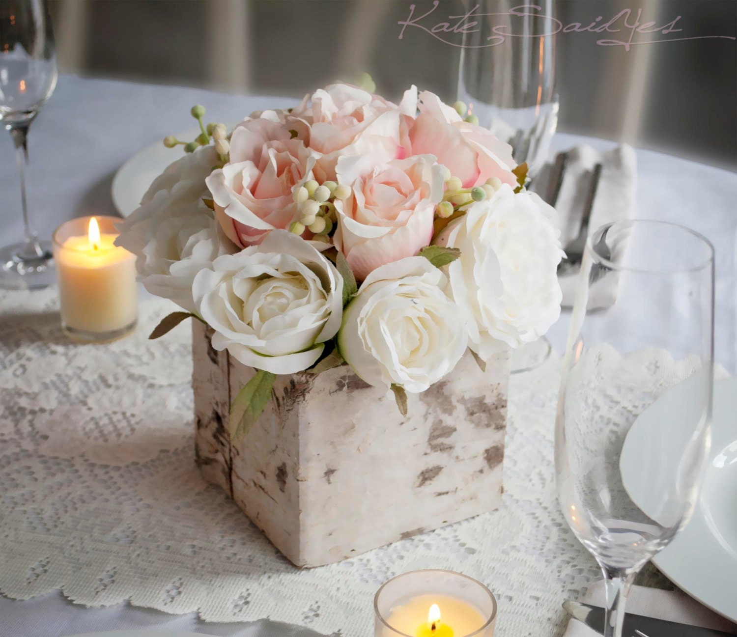 Red Wedding Ideas On A Budget: Wedding Centerpiece Rustic Blush And Ivory Rose Wedding