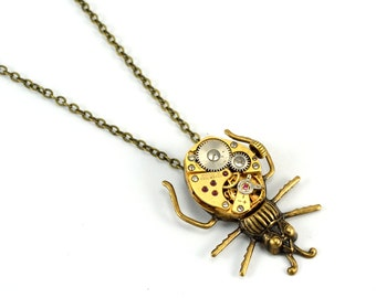 Steampunk Beetle Necklace, Bug Necklace, Beetle Pendant