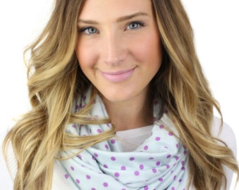 PURPLE POLKA DOT scarf, emma, blue and purple polka dot print infinity scarf