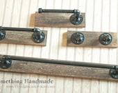 Industrial  Barn Wood Bathroom Set  rustic 1892  reclaimed barn  wood 18 or 24  inch towel bar/hand towel bar /robe rack/toilet paper holder