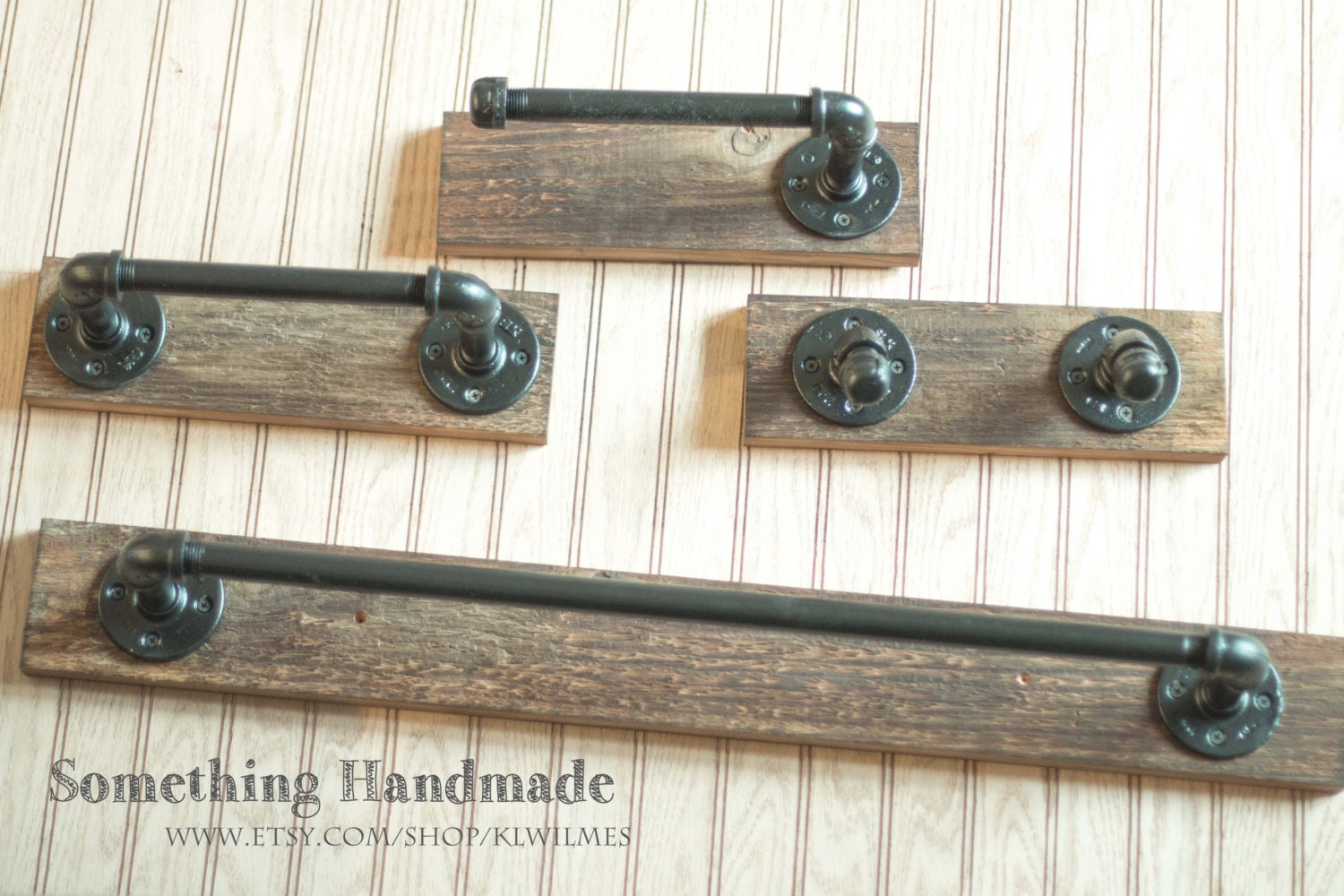 Barn Wood Bathroom Set Towel Bars Toilet Paper Holders And - Bathroom towel bars and toilet paper holders for bathroom decor ideas