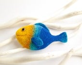 Felted Fish Brooch - Yellow and Blue - Fish