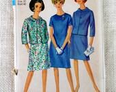 Vintage Pattern Simplicity 6978 1960s 1967 Ladies skirt suit Bust 40 Large cropped jacket dress Jackie Kennedy Onassis Betty Draper