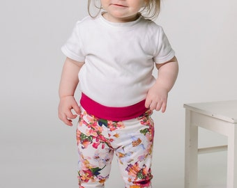 Floral baby leggings, summer baby girl clothes, baby gril gifts, modern baby toddler pants, white pink flowers, ready to ship
